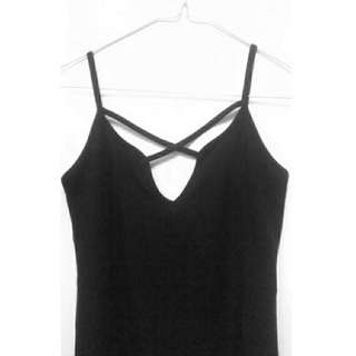 Ribbed Cross Over Scoop Singlet