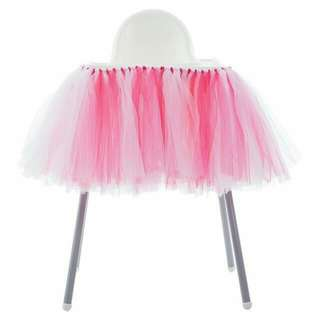 (FOR RENT) Toddler's High Chair Tutu Table Skirting