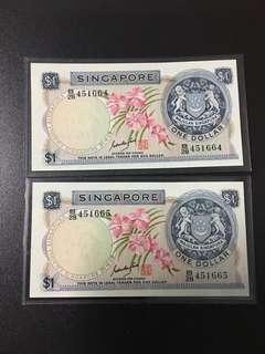 $1 orchid series(AU) B28 451664/5 Goh Keng Swee signature