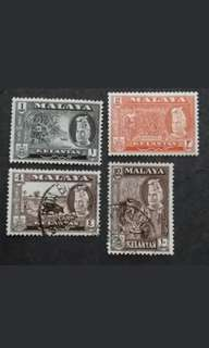 Malaya 1957 1st Scenes Kelantan Loose Set Up To 10c - 2v MNH & 2v Used Malaya Stamps