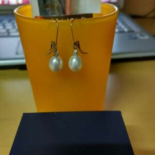 全新10k鑽石購自amazon珍珠耳環 diamond Pearl Earrings