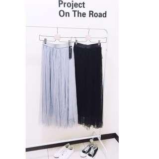 🚚 🎉(全新現貨)紗裙 澎澎裙 三層 有內裡 灰色/黑色 長裙