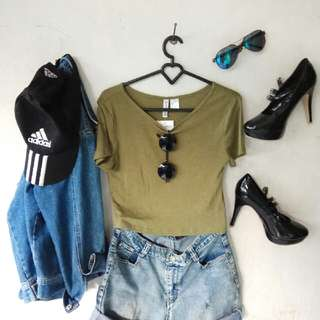 crop top HnM (freeongkir) warna ijo army