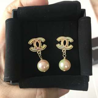 Authentic Channel Iridescent Pearl Earrings