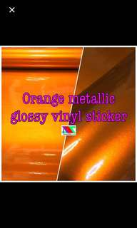 Orange metallic vinyl sticker
