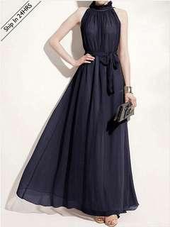 深藍色氣質長洋裝