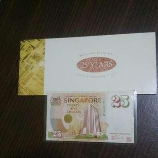 25TH ANNIVERSARY Singapore $25 ~ UNC ~