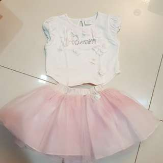 Baby Girl's top and tutu skirt set