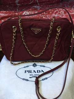 Authentic Prada Tessuto Quilted Red Bag