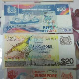 Singapore bird & ship old currency for sale $1000 for$1150 ,$500 for $600 ,$100 for $120 , $50for $60 & others