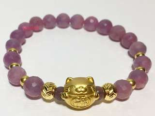 The 24K Gold Fortune Cat with Natural Ruby Crystal