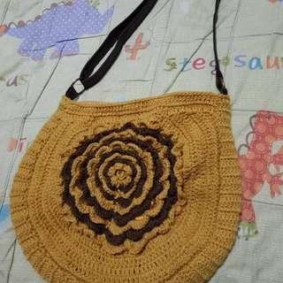 🔴私物🔴芥末黃花花針織包