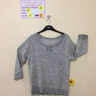 Gray Pullover with Silver Sequinned Design