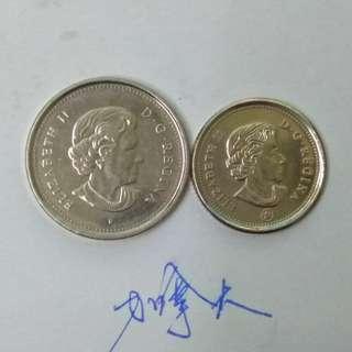 加拿大硬幣兩個