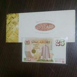 25TH ANNIVERSARY Singapore $25 UNC