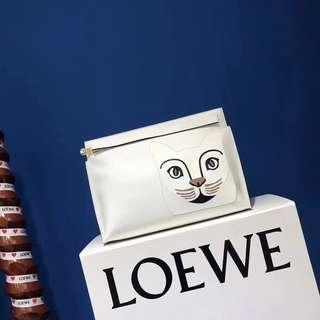 貓 手工拼皮手包 充分展現這個時代對這種可愛形象的 無限迷戀略顯怪異的模樣更增個性  展露不容小覷的存在感 Loewe貓咪手包 小牛皮內里紡織內襯  配全套正品包裝(盒子 紙袋 絲帶) size:29.5*20cm
