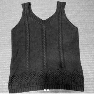 🚚 黑色造型背心線衫上衣#女裝半價拉