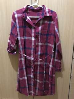Red Checkered Button Down Dress