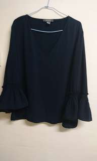 Primark Navy top with ruffles sleeves