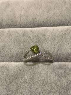 天然綠色藍寶石銀 戒指