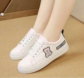 Sepatu Kets Karakter Teddy Bear - Sneakers Korea Murah - Slipon Korean Fashion - Sepatu Fashion Wanita Lucu - Sepatu Senam