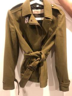 Burberry Brit Wool Coat Jacket with Belt Dark Green