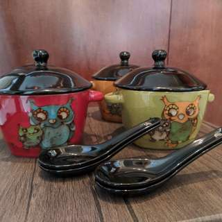 Set of 4 Owl Bowls