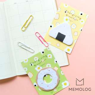 Onigiri and Doughnut Energizing Breakfast Sticky Notes Memo Pad