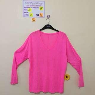 Neon Pink V Neck Longsleeved Top