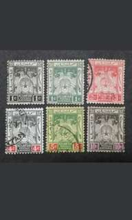 Malaya 1910 Kelantan Arms Loose Set Up To 10c - 6v Used Malaya Stamps