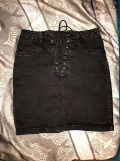 Black Denim Tie / Lace up Skirt