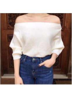 knitted white off shoulder top