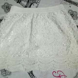 white skirt w/ lace