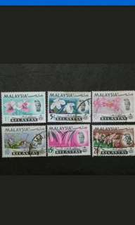 Malaysia 1965 Kelantan Orchids Definitive Loose Set Short Of 2c - 6v Mix MH & Used Stamps