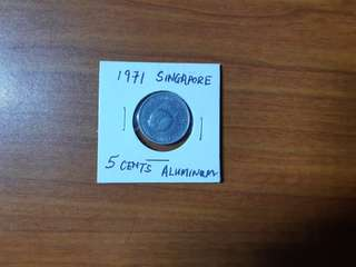 Rare 1971 Singapore 5 cents Aluminum Pomfret Fish Coin