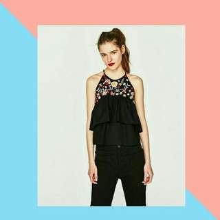 Zara poplin top with emboidery (brand new)
