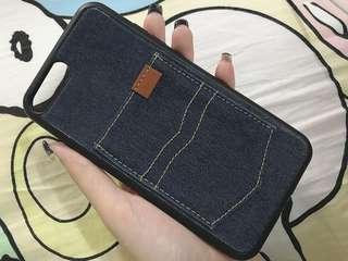 深藍牛仔皮iPhone7plus手機殼