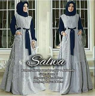 Salwa Gamis (Navy) (Maroon) Rp.107000 BAHAN KATUN YANDED SALUR MIX BALLOTELY. SIZE FIT TO XL LD 100CM PB 140CM.