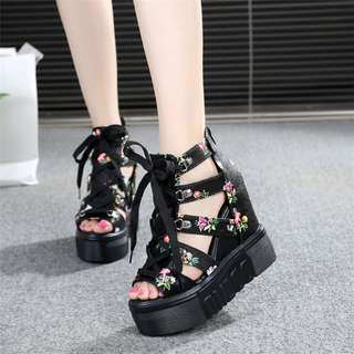 Korean Super High Wedges Criss Cross  Floral Flowers Black Thick Bottom Sandals