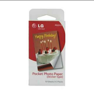 LG Zink Photo Paper Sticker Type