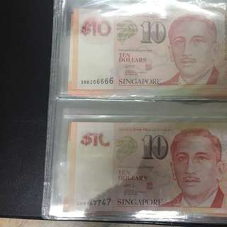$10 notes Fancy no. Almost solid 366666 & 747747