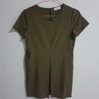 Korean Shift Dress (Olive)