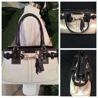Authentic Coach white leather bag