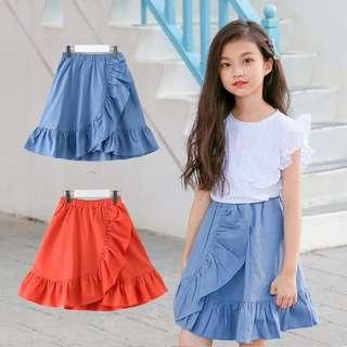 Summer white top + wavy skirt set