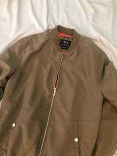 Olive Green Bershka Bomber Jacket