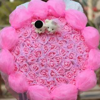 66 Pink Soap Roses + 2 Lovely Bears Bouquet + Pink Wrapper