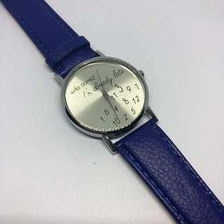 Who cares I'm already late wrist watch - Blue