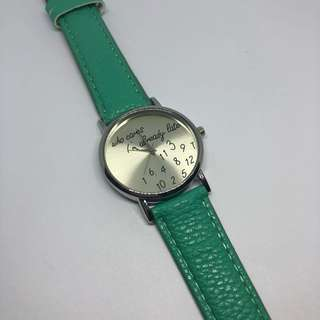 Who cares I'm already late wrist watch - green