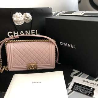 Chanel Boy Old Medium in Pink Lambskin with GHW 0f2cdb9a6b4ec