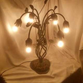 古早純銅荷花造型枱燈夜燈